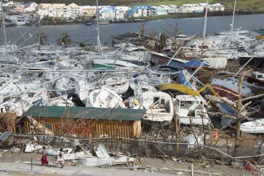 Le port de plaisance de Marigot, à Saint-Martin, le 16 septembre après le passage d'Irma.
