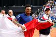 Tennis - Davis Cup - Semi-Final - France vs Serbia- Stade Pierre-Mauroy, Lille, France - September 17, 2017 France's Jo-Wilfried Tsonga celebrates winning his match against Serbia's Dusan Lajovic with Pierre-Hugues Herbert REUTERS/Pascal Rossignol