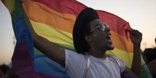 Un jeune Brésilen avec le drapeauarc-en-cielde la communauté homosexuelle, pendant un festival, à Rio, le 17 septembre 2017.