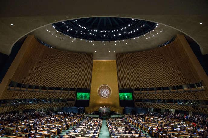 L'hémicycle des Nations unies, à New York (Etats-Unis).La diplomatie française nourrit notamment l'espoir d'infléchir la position de la Maison Blanche sur l'accord de Paris.