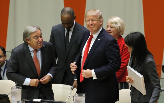 Le président Trump (à droite) et le secrétaire général des nations unies, Antonio Guterres.