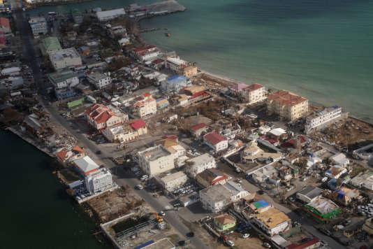 L'île de Saint-Martin, le 16 septembre,ravagée après le passage de l'ouragan Irma.