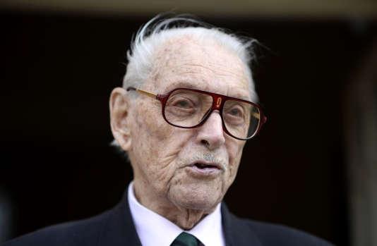 Fred Moore, le 14 mai 2014 à Paris. Compagnon de la Liberation, il est mort le 16 septembre à Paris.