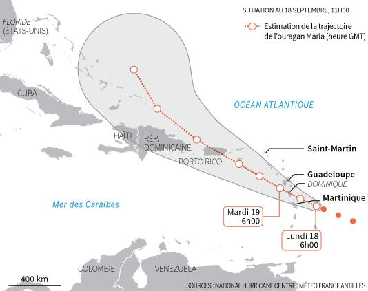 Trajectoire estimée de l'ouragan Maria selon les prévisions de Météo France et du Centre national des ouragans américain.