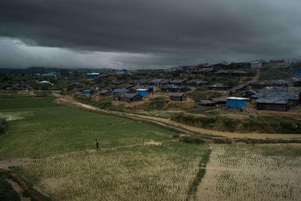 A côté du camp de réfugiés de Kutupalong, l'un des deux gérés par le gouvernement dans la région de Cox's Bazar, dans le sud du Bangladesh, un Rohingyatraverse une rizière.