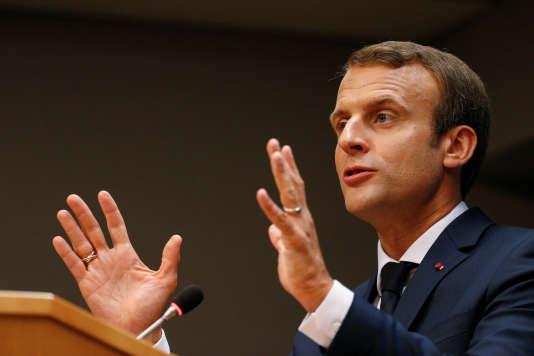 Le président français, Emmanuel Macron, ici lors d'une conférence de presse en marge de l'Assemblée générale des Nations unies, le 19septembre 2017, s'est exprimé sur la chaîne américaine CNN.