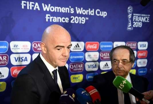 Gianni Infantino, ici au côté du président de la Fédération française, a lancé le mondial féminin 2019, à Paris.
