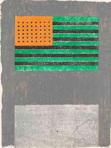 """«Au milieu des années 1950, Jasper Johns commença à peindre des objets très reconnaissables et à utiliser des images telles que le drapeau américain, des cibles et des nombres dont il se reservit dans plusieurs supports. L'artiste décrivait ses sujets comme des """"choses que l'esprit connaît déjà"""", et malgré les couleurs de cette image, le drapeau américain est ici clairement identifiable.»"""