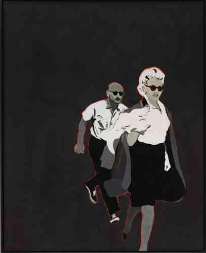 «Drexler réalisa cette peinture un an après la mort de Marilyn Monroe. L'arrière-plan noir, qui entoure Marilyn et l'homme inconnu qui la poursuit, suscitent une impression terrifiante de glamour, d'isolement et de vulnérabilité.»
