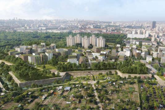 «Une promenade verte sera aménagée autour des murailles ; elle facilitera la connexion est-ouest du nouveau quartier» (Vue d'avion de la future ZAC d'Aubervilliers).