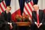 Emmanuel Macron et Donald Trump en marge d'une réunion de l'Assemblée générale des Nations unies, à New York, le 18 septembre 2017.
