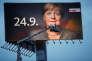 Une affiche électorale de campagne de la CDU, de 18 mètres de large, à Duisburg, le 14 septembre.