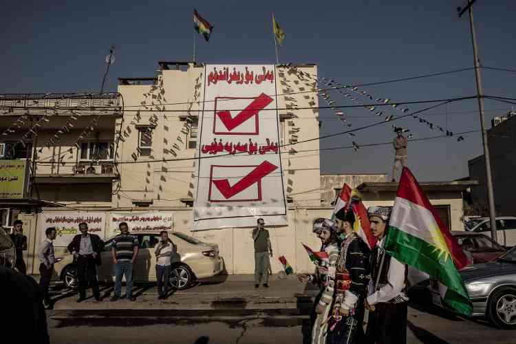 Les manifestations se multiplient en faveur du référendum sur l'indépendance prévule 25 septembre. Ici àErbil, la capitale du Kurdistan irakien, à la mi-septembre.