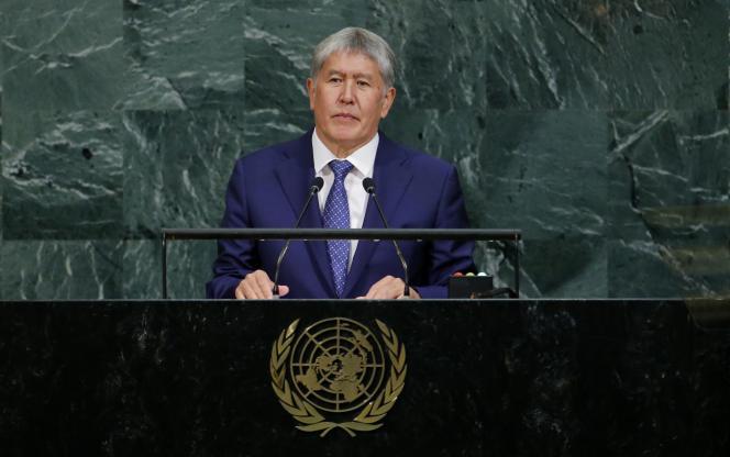 Almazbek Atambaïev, le président duKirghizistan, à l'ONU, à New York, le 20 septembre 2017.