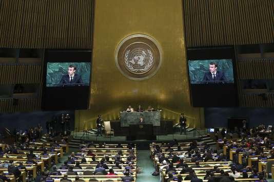 Emmanuel Macron prend la parole devant l'Assemblée générale des Nations unies, à New York, le 19 septembre.