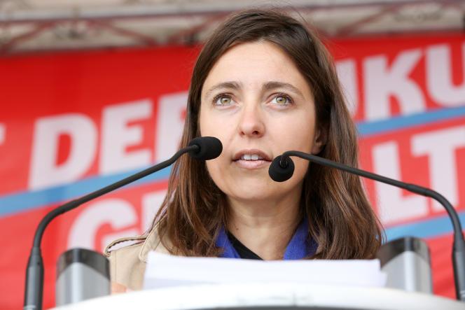 Sophie Binet, dirigeante de la CGT chargée de l'égalité femmes-hommes, à Hambourg, en mai 2015.