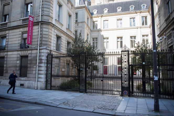 Le siège du PS, 10, rue de Solférino, à Paris, en septembre 2017.
