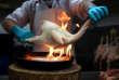 Un boucher déplume un poulet au marché du centre-ville de Lima, au Pérou, le 25 juillet.