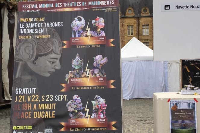 Affiche du spectacle de la compagnie indonésienne, Putra Giri Harja 3, autour du marionnettiste (dalang), Dadan Sunandar Sunarya, «Wayang Golek Sundanais», à Charleville-Mézières.