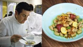 Le chef William Ledeuil goûte un de ses plats dans sa cuisine.