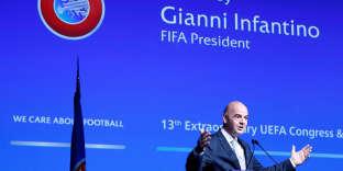 Gianni Infantino, le 20 septembre, lors du congrès de l'UEFA.