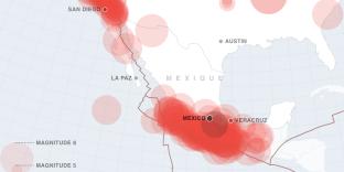 Carte des séismes notables depuis le début du XIXe siècle en Amérique du Nord.
