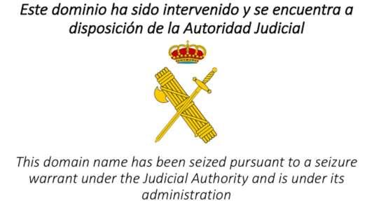 Ce message de la justice espagnole s'affiche désormais quand on tente de se connecter aux adresses ref1oct.cat et referendum.cat.
