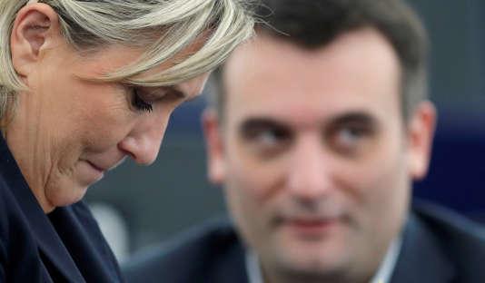 Marine Le Pen et Florian Philippot au Parlement européen, à Strasbourg, le 17 janvier 2017.