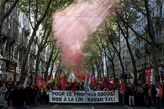 Manifestation contre la loi travail à Lyon, le 21 septembre.