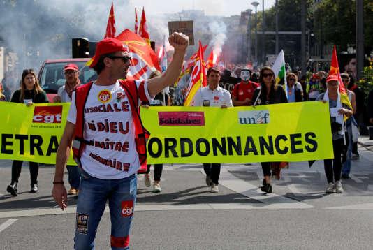 Manifestation à Nantes jeudi 21 septembre contre la réforme du code du travail.