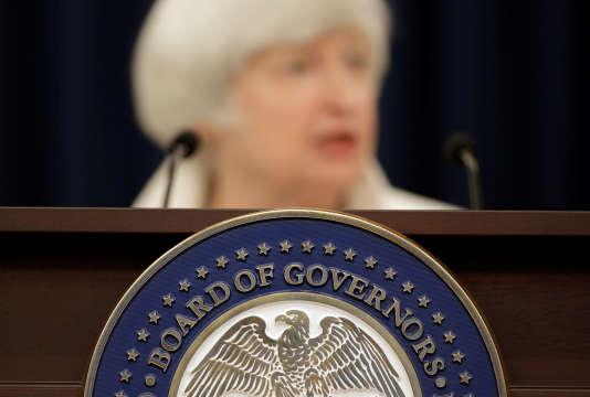 Conférence de presse de Janet Yellen, présidente de la Réserve fédérale, à Washington, le 20 septembre.