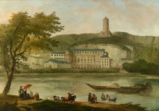 Sur ce tabeau d'Hubert Robert, «Vue du chateau de Madame d'Enville», peint en 1773, la tour de La Roche-Guyon est encore intacte.