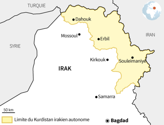 Si le Kurdistan irakien comprend les trois provinces de Dohouk, Erbil et Souleymanieh, dans les faits les zones d'influence de l'UPK et du PDK s'étendent au-delà:province du Sinjar (dans le nord-ouest), une partie de la plaine de Ninive (entre Mossoul et Erbil) et une partie de la province de Kirkouk (au sud-est d'Erbil).