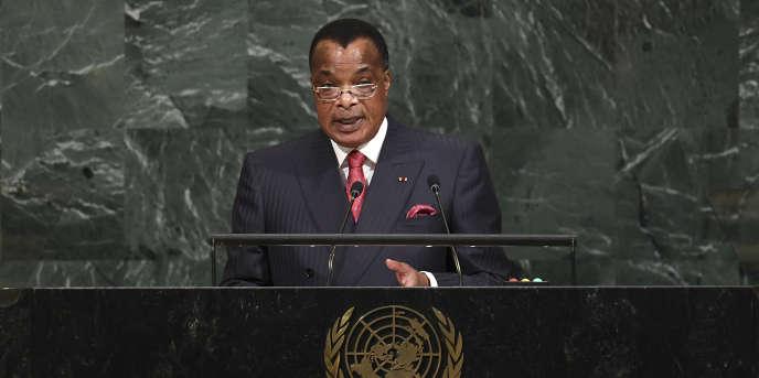 Le président du Congo-Brazzaville, Denis Sassou-Nguesso, lors de l'Assemblée générale des Nations unies, à New York, le 20septembre 2017.
