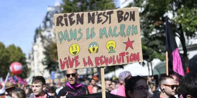 Lors de la manifestation parisienne contre la réforme du code du travail, jeudi 21 septembre.