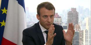 Emmanuel Macron lors de son interview par la journaliste Christiane Amanpour sur la chaîne CNN à New York, le 19 septembre.
