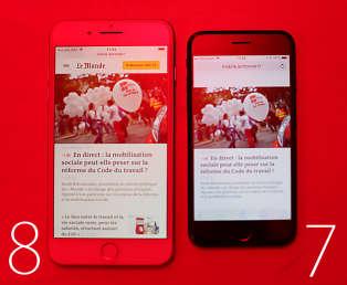 En forçant le trait, la différence devient même très nette. Un éclairage rouge pur donne une teinte bleutée à l'écran de l'iPhone 7. L'écran de l'iPhone 8 s'adapte en optant pour une teinte plus chaude.
