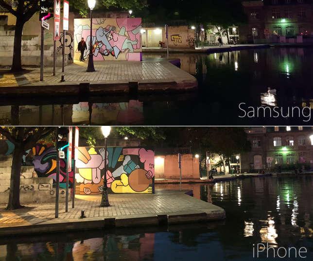 Le Samsung Galaxy S8 et l'IPhone 8 plus comparés à la nuit tombée, au même endroit, à quelques mois d'écart.