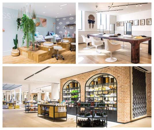 Le Printemps Haussmann a ouvert un Pedi Bar Gloss up (à g.), le Bon Marché Rive Gauche, un salon de coiffure (à dr.) et une « petite épicerie de la beauté ».