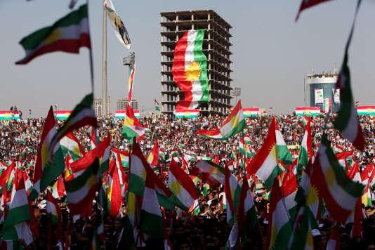 Un rassemblement pour l'indépendance kurde, à Erbil, en Irak, le 22 septembre 2017
