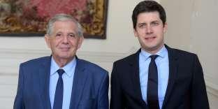 Julien Denormandie (à dr.), secrétaire d'Etat à la cohésion des territoires, aux côtés de Jacques Mézard, son ministre de tutelle, le 20 septembre.