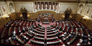 FILE - This Thursday, Dec. 11, 2014 file photo shows a general view of France's Senate prior to a vote on the recognition of a Palestinian state, Paris, France. On Sunday, France will elect nearly half its Senate, in a vote that is expected to illustrate the slide in President Emmanuel Macron's popularity since his election earlier this year. (AP Photo/Francois Mori, File)