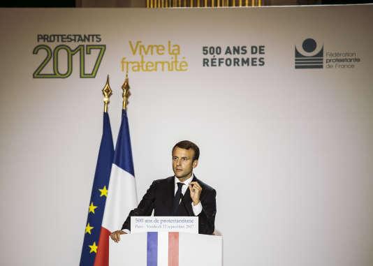 Emmanuel Macron, à l'Hôtel de Ville de Paris, pour le 500e anniversairede la Réforme,le 22septembre.