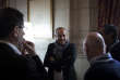 Laurent Berger (centre) s'entretient avec Serge Papin et Philippe Escande dans les coulisses avant la conférence à l'Opéra Garnier, Paris, France - 23/09/2017