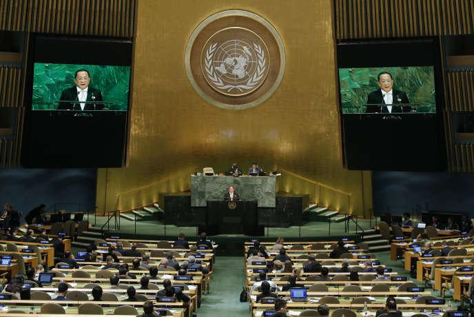 Le ministre nord-coréen des affaires étrangères Ri Yong-ho à la tribune de l'Assemblée générale des Nations unies, le 23 septembre 2017.