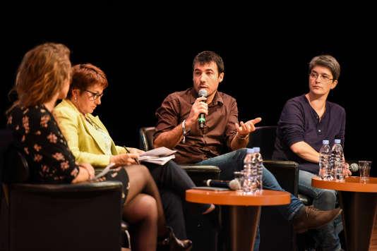 """Conférence """"Demain, tous végans ?"""" avec Audrey Garric, Christiane Lambert, Brigitte Gothière et Renan Larue."""
