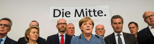 Angela Merkel s'exprime au soir du 24 septembre, à Berlin.
