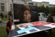 Workers remove an election campaign billboards showing Christian Democratic Union CDU party leader and German Chancellor Angela Merkel and Social Democratic Party SPD leader and top candidate Martin Schulz, the day after the general election (Bundestagswahl) in Berlin, Germany September 25, 2017. REUTERS/Christian Mang