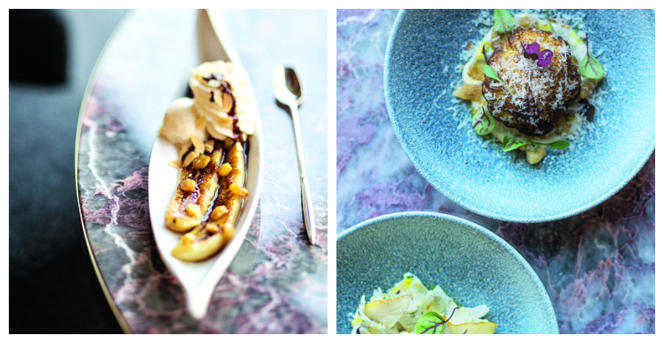 La banana split et le chou-fleur doré meunièere à l'huile de curry.