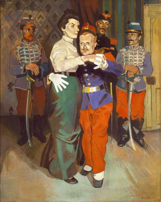 «A partir d'une photographie, Derain peint cette scène sarcastique de danse lors de son service militaire, inspirée des œuvres de Toulouse-Lautrec ou des caricaturistes du début du XXe siècle.»